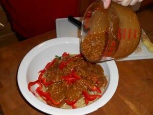 Crunchy Noodle Salad in Bowl Dressing