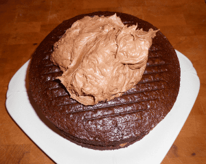 chocolate marshmallow buttercream on first layer