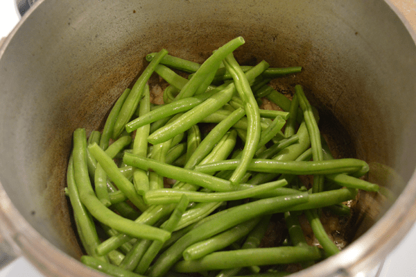 grannie geek, layer green beans on top of onions