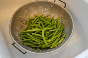 grannie geek, green beans in colander