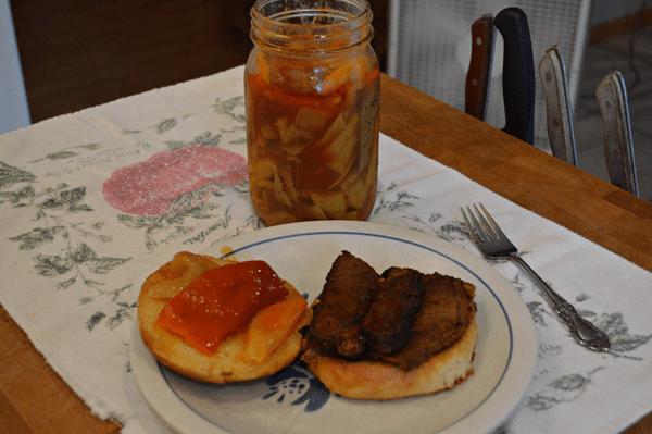 grannie geek, brisket sandwich with hot peppers