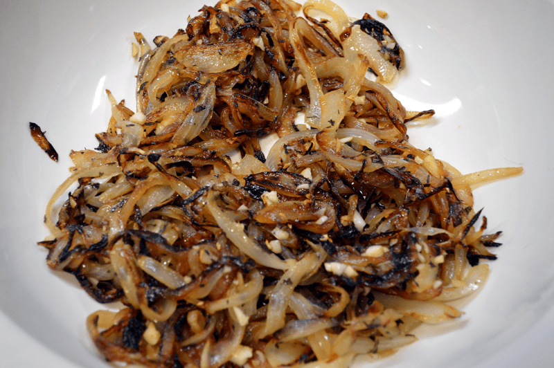grannie geek, caramelized onions and spices