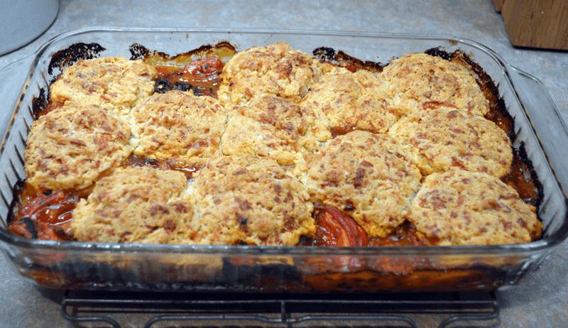 grannie geek, casseroles, tomato cobbler with biscuits