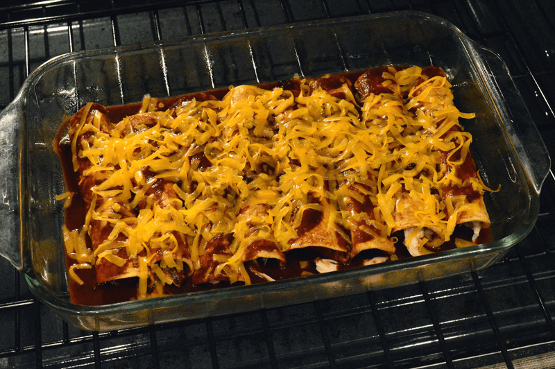 grannie geek, turkey enchiladas with cheese in oven