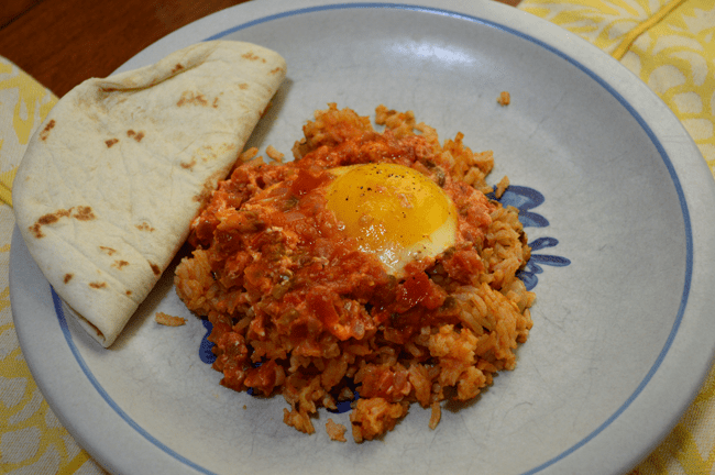 at mimis table huevos rancheros over rice